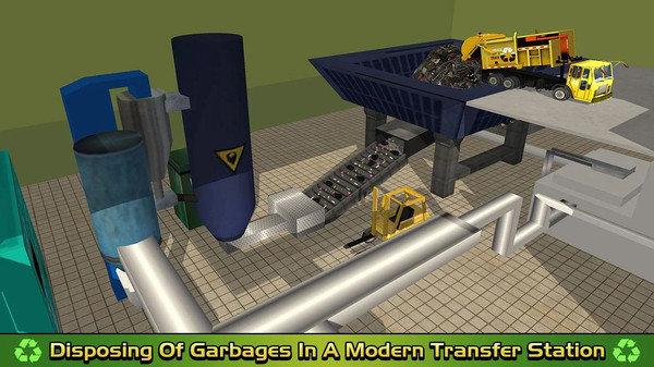 垃圾车倾倒司机取货和回收